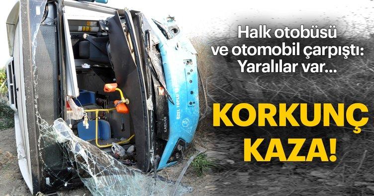 Halk otobüsü ile otomobil çarpıştı! 24 yaralı