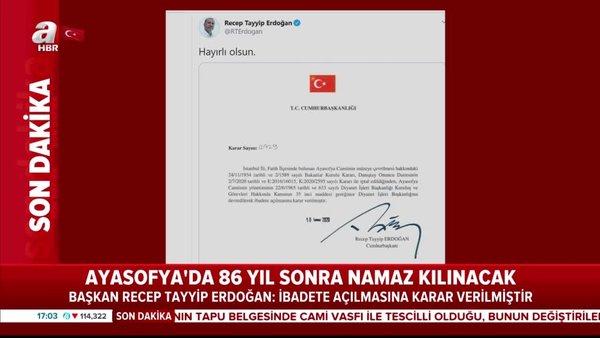 Son Dakika: Cumhurbaşkanı Erdoğan'dan flaş Ayasofya paylaşımı | Video