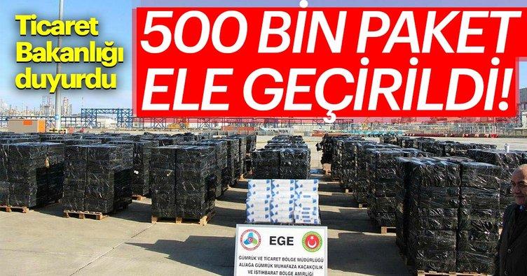 Ticaret Bakanlığı duyurdu! 500 bin paket kaçak sigara ele geçirildi