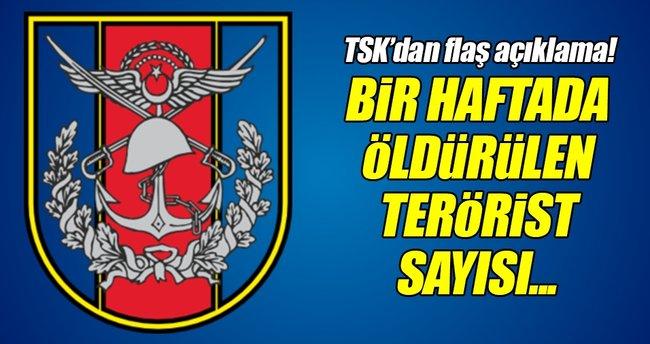 TSK bir haftada etkisiz hale getirilen terörist sayısını açıkladı!