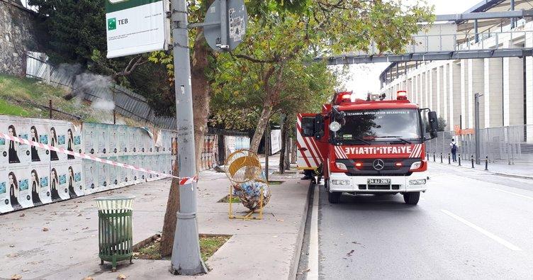 Beşiktaş'ta yer altı elektrik kabloları patlayarak yandı