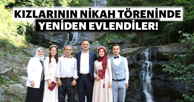 Kızlarının nikah töreninde yeniden evlendiler