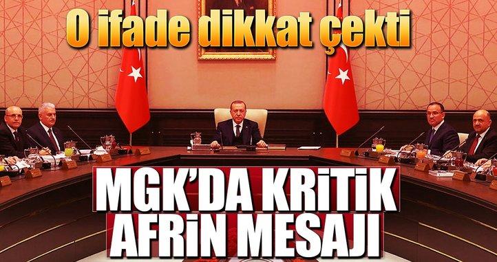 MGK'da kritik Afrin mesajı