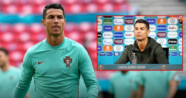 Cristiano Ronaldo'dan dikkat çeken tepki! Kola şişelerini kenara itti...