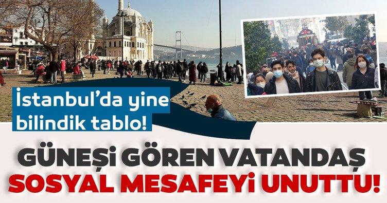 İstanbul'da güneşi gören vatandaşlar sosyal mesafeyi unutup alanlara akın etti