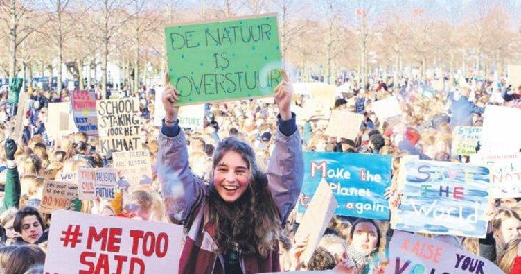Öğrenciler iklim için sokağa döküldü