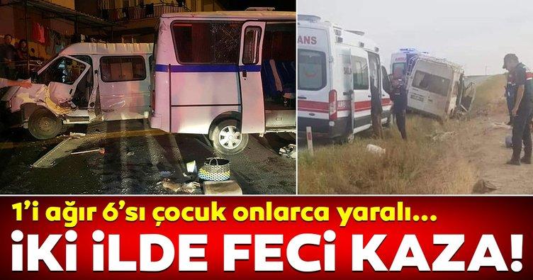 Manisa'da ve Aksaray'da tarım işçilerini taşıyan minibüs devrildi: 24 yaralı!