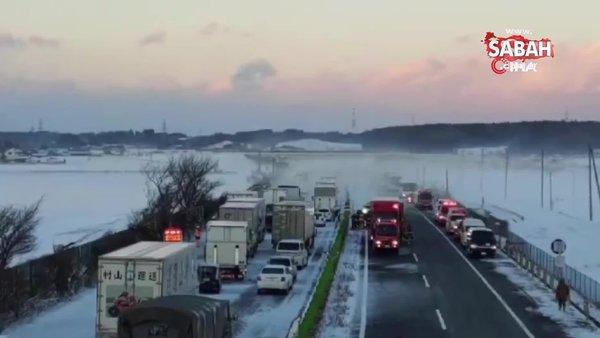 Japonya'da zincirleme kaza: 130 araç birbirine girdi   Video