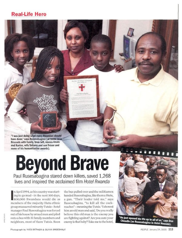 essay on paul rusesabagina Paul rusesabagina (kinyarwanda: [ɾusesɑβaɟinɑ] born 15 june 1954) is a rwandan humanitarian who, while working as a house manager at the hôtel des mille collines in kigali, hid and protected 1,200 hutu and tutsi refugees from the interahamwe militia during the rwandan genocide.