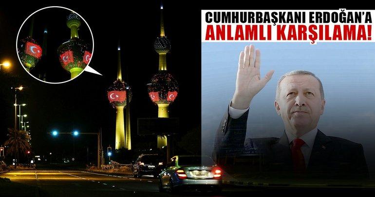 Cumhurbaşkanı Erdoğan'a Kuveyt'te anlamlı karşılama