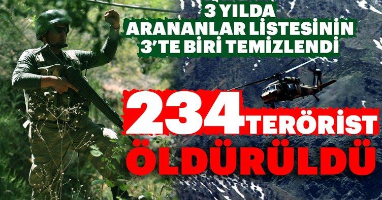 234 terörist öldürüldü! 3 yılda arananlar listesinin 3'te biri temizlendi