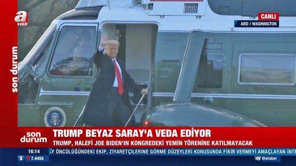 SON DAKİKA: ABD'de tarihi anlar! ABD Başkanı Donald Trump Beyaz Saray'a böyle veda etti | Video