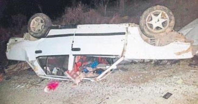 Tavas'ta takla atan araçta 2 kişi öldü