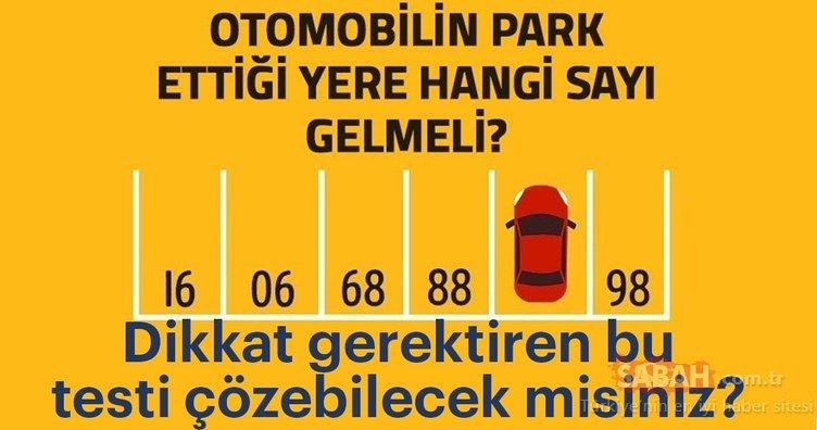 Sosyal medyanın konuştuğu zeka testi! Aracın park ettiği yere hangi sayı gelmeli?