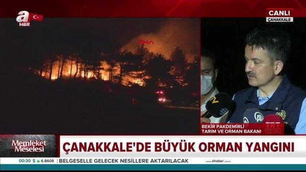 Tarım ve Orman Bakanı Bekir Pakdemirli Çanakkale'deki yangın hakkında bilgi verdi | Video