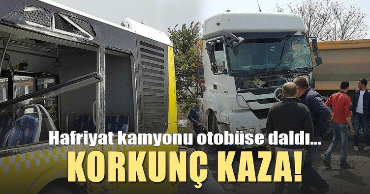 Son Dakika: Hafriyat kamyonu İETT otobüsüne çarptı: 6 yaralı