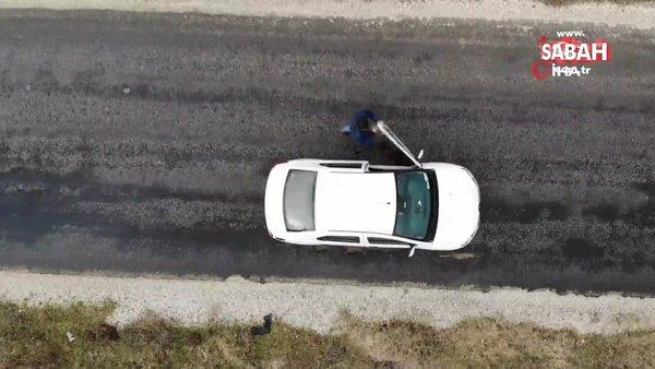 Görenleri şaşırtan yol: Boşa alınan araçlar yokuş yukarı çıkıyor | Video