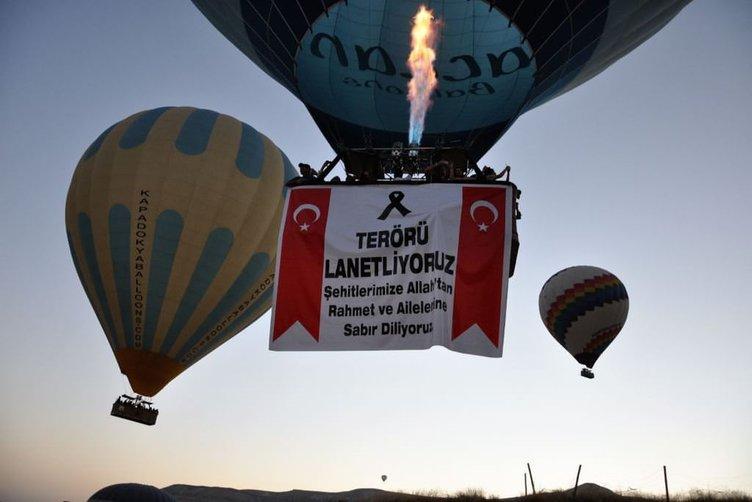 Kapadokya'da balonlar, şehitler için havalandı