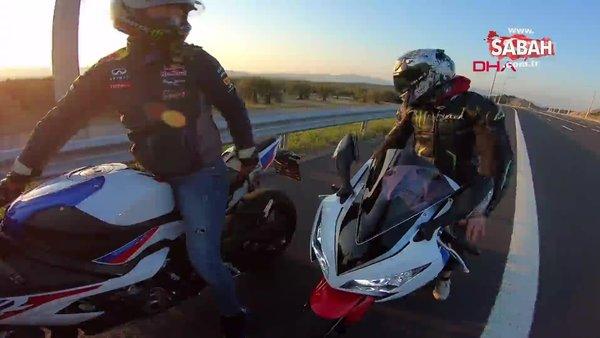 İzmir'de motosikletlilerden otoyolda tehlikeli hareketler!
