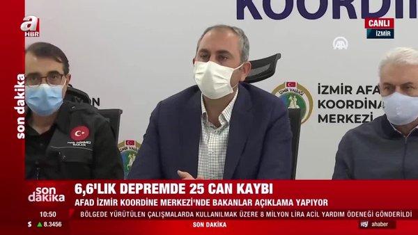 Son dakika! Deprem acılarını provoke edenler hakkında soruşturma! Adalet Bakanı Gül'den İzmir'de önemli açıklamalar   Video