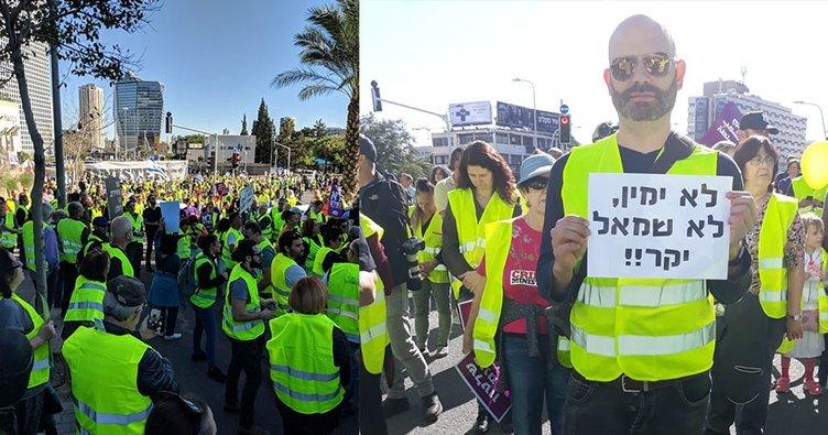 Sarı yelekliler İsrail'de ortaya çıktı