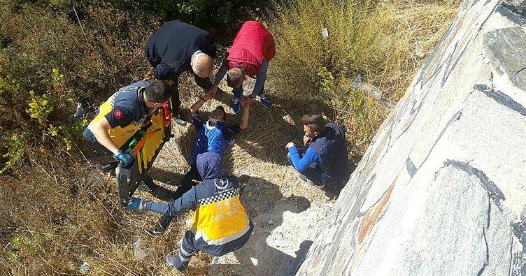 5 metrelik duvardan düşen genç yaralandı