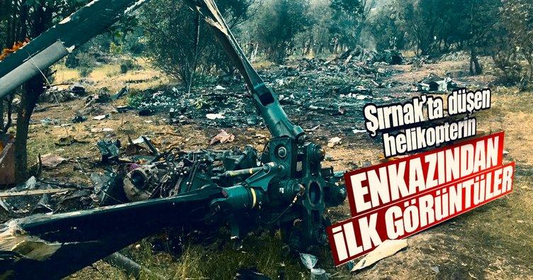 Düşen askeri helikopterin enkazı görüntülendi