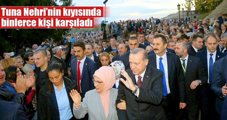Tuna Nehri'nin kıyısında Erdoğan'a sevgi seli