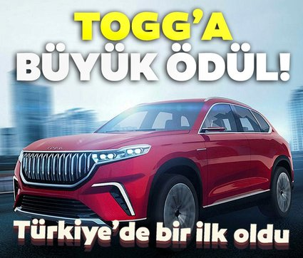 Yerli otomobil TOGG'a büyük ödül: Türkiye'de bir ilk oldu