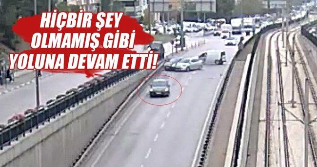 Kazaya yol açan sürücü böyle kaçtı!