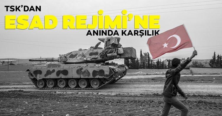 Son dakika: TSK'dan Esad Rejimi'ne anında karşılık! Rejim hedefleri böyle vuruldu