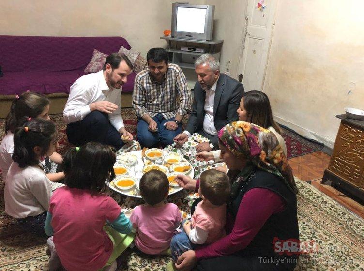 Hazine ve Maliye Bakanı Berat Albayrak iftarda o ailenin misafiri oldu