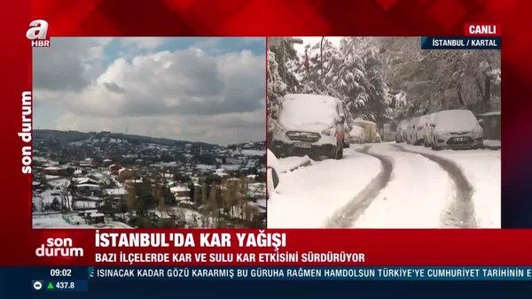 İstanbul'da kar yağışı etkili oluyor! Bu araçlar karın altında kayboldu!   Video