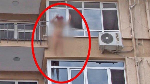 Son dakika: İstanbul Kadıköy'de şok görüntü! Çırılçıplak çıktığı balkondan aşağı böyle atladı | Video