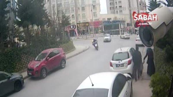 Başakşehir'de kuryenin ölümden döndüğü kaza kamerada | Video