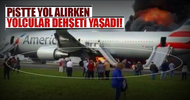 Yolcu uçağı alev alev yandı