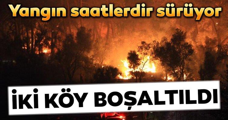 Muğla'daki yangın saatlerdir sürüyor... İki köy tehlike nedeniyle boşaltıldı...