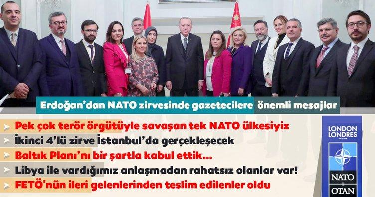 Başkan Erdoğan Londra'daki NATO zirvesini Türk gazetecilere değerlendirdi