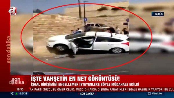 SON DAKİKA: İsrail vahşetinden kan donduran görüntüler! Yahudi ırkçılar Müslümanları araçlarıyla eziyor
