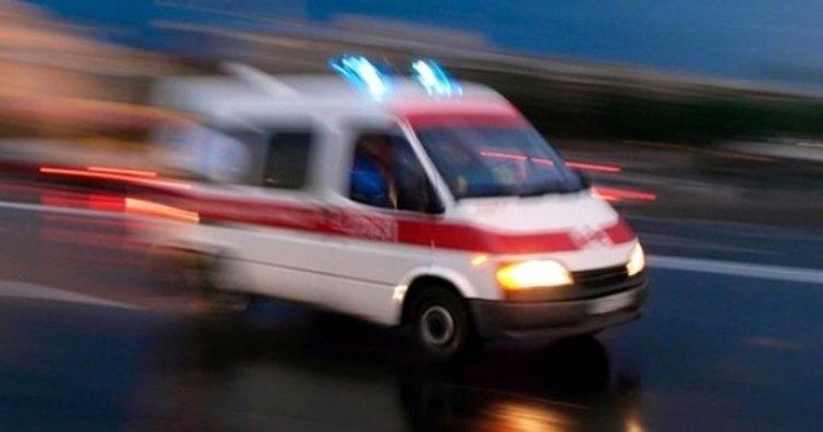 Eline saplanan demir parçasıyla hastaneye götürüldü