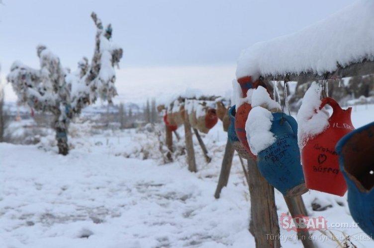 Peri bacaları karla kaplandı