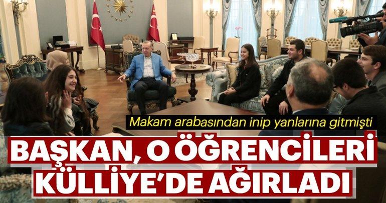 Erdoğan, çaya davet ettiği öğrencileri Külliye'de ağırladı