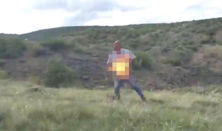 Jandarmanın yakaladığı hükümlü kendini yaktı!