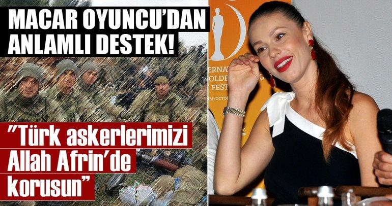 Macar oyuncudan Türk askerlerine destek