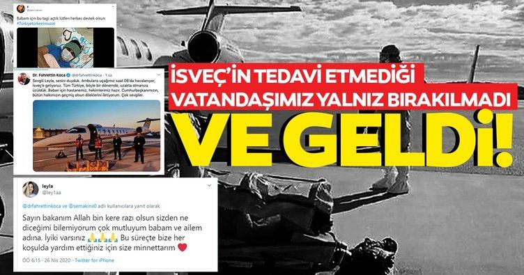 İsveç'te tedavi edilmeyen Emrullah Gülüşken ambulans uçakla Türkiye'ye getirildi