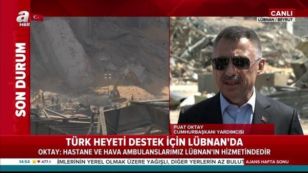 Cumhurbaşkanı Yardımcısı Oktay ve Dışişleri Bakanı Çavuşoğlu Beyrut'ta patlama alanında   Video