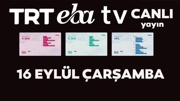 TRT EBA TV canlı izle! (16 Eylül 2020 Çarşamba) 'Uzaktan Eğitim' Ortaokul, İlkokul, Lise kanalları canlı yayın   Video