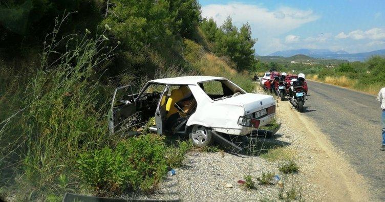 Virajı alamayan otomobil yoldan çıktı: 4 yaralı