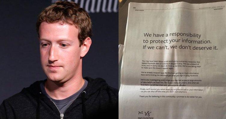 Mark Zuckerberg'ten gazetelere tam sayfa özür mektubu!