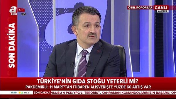 Bakan Pakdemrili'den canlı yayında corona virüsü ve Türkiye'nin gıda stoğu açıklaması | Video